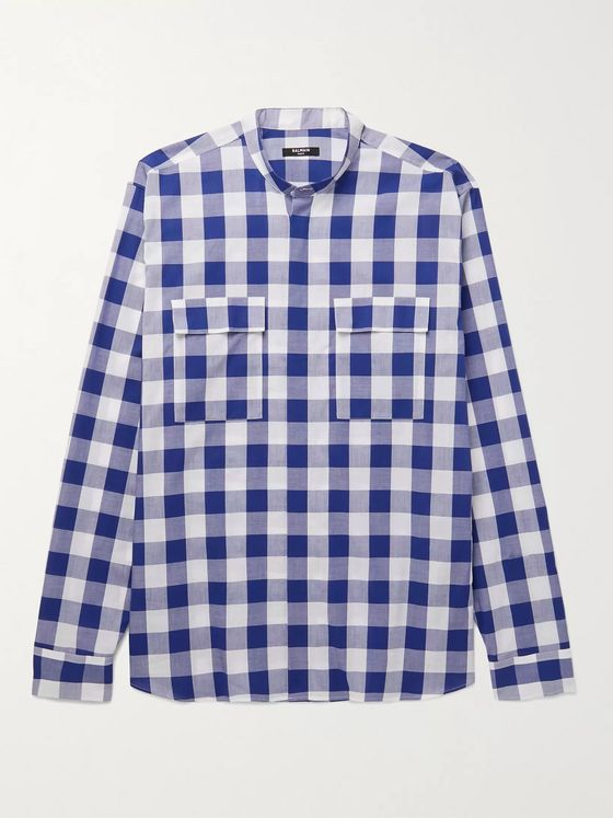 BALMAIN Grandad-Collar Checked Cotton-Poplin Shirt