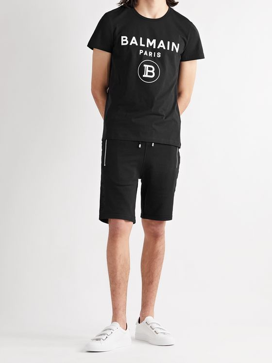 BALMAIN Logo-Embossed Loopback Cotton-Jersey Drawstring Shorts