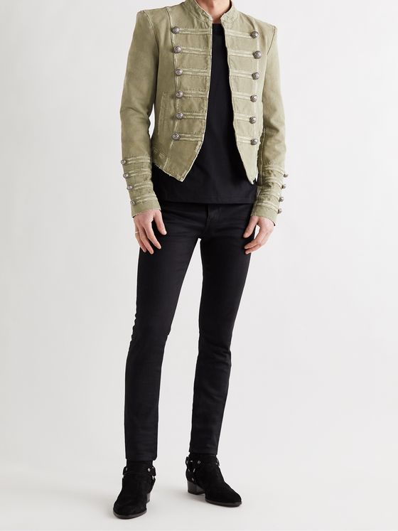 BALMAIN Cropped Button-Embellished Cotton Blazer