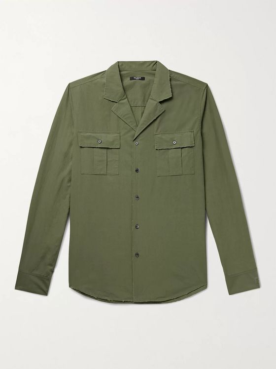 BALMAIN Camp-Collar Distressed Cotton-Poplin Shirt