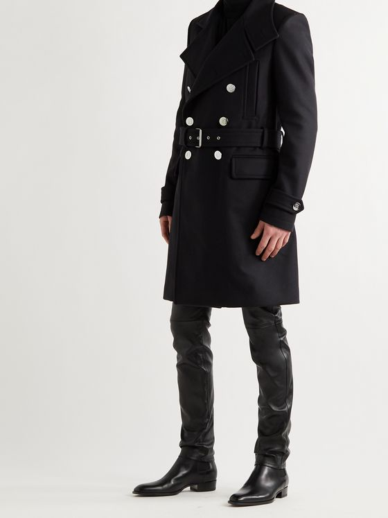 BALMAIN Belted Double-Breasted Virgin Wool-Blend Coat