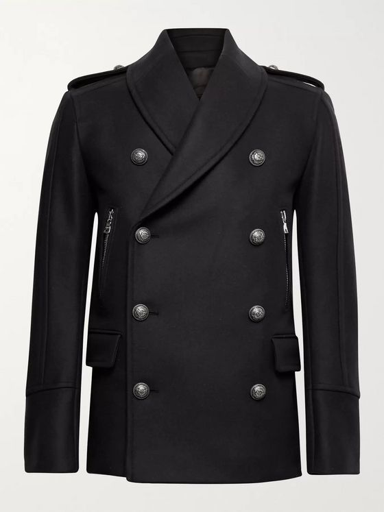 BALMAIN Double-Breasted Virgin Wool-Blend Pea Coat