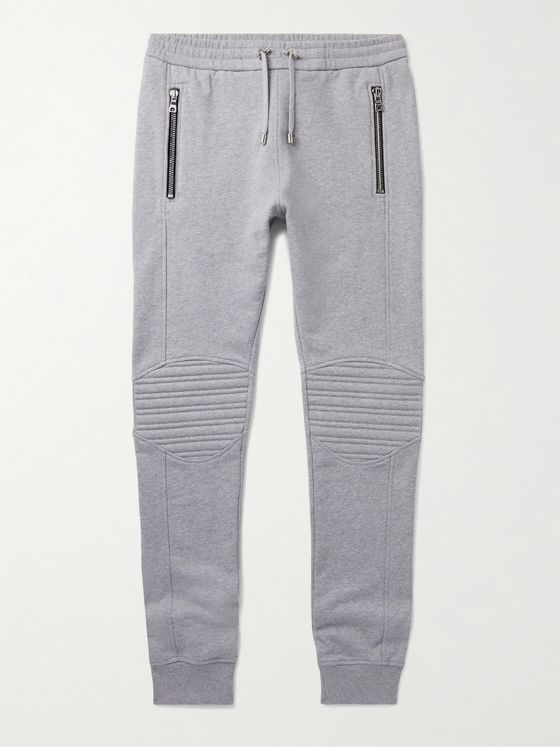 BALMAIN Slim-Fit Logo-Embossed Cotton-Jersey Sweatpants