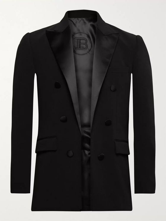 BALMAIN Slim-Fit Satin-Trimmed Crepe Blazer