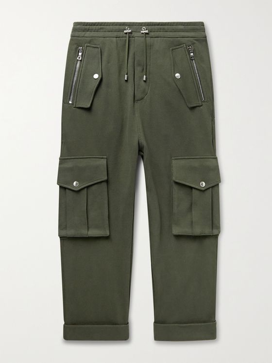 BALMAIN Tapered Cotton-Jersey Drawstring Cargo Trousers