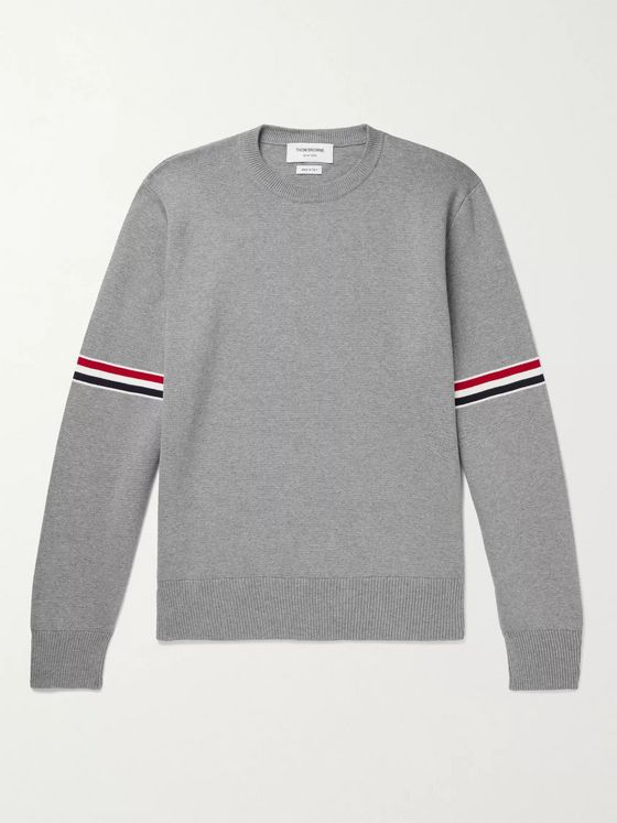 THOM BROWNE Slim-Fit Striped Cotton Sweater