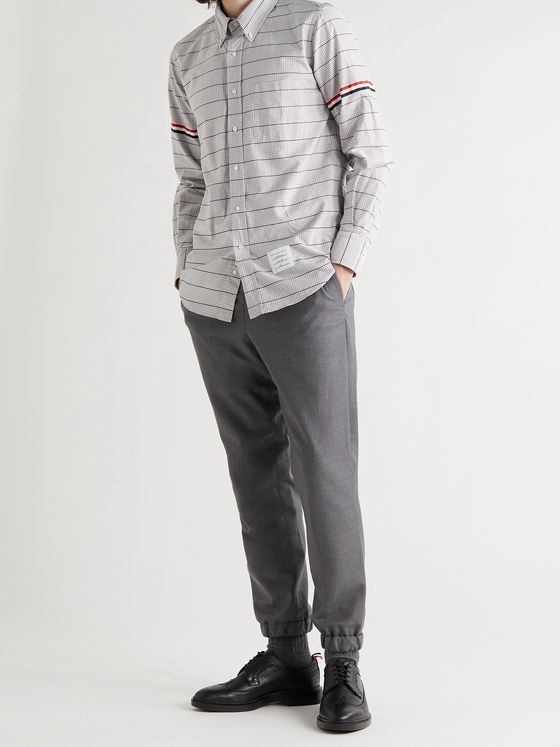 THOM BROWNE Slim-Fit Button-Down Collar Checked Cotton Oxford Shirt