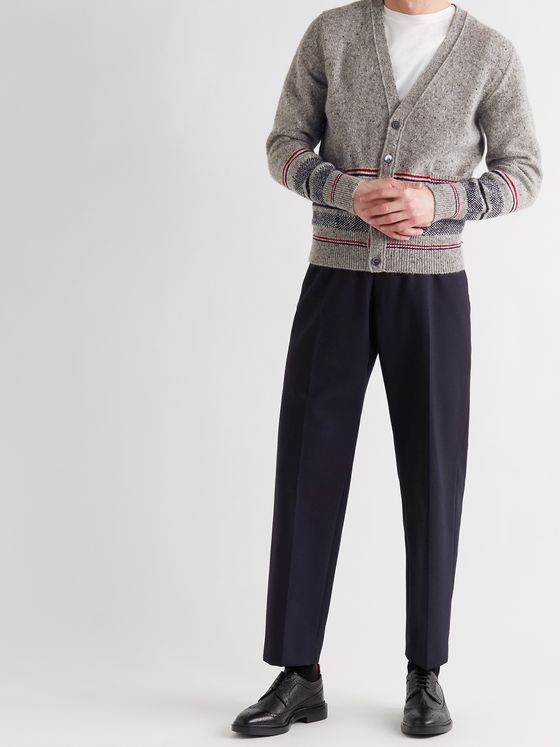 THOM BROWNE Slim-Fit Striped Mélange Wool and Mohair-Blend Cardigan