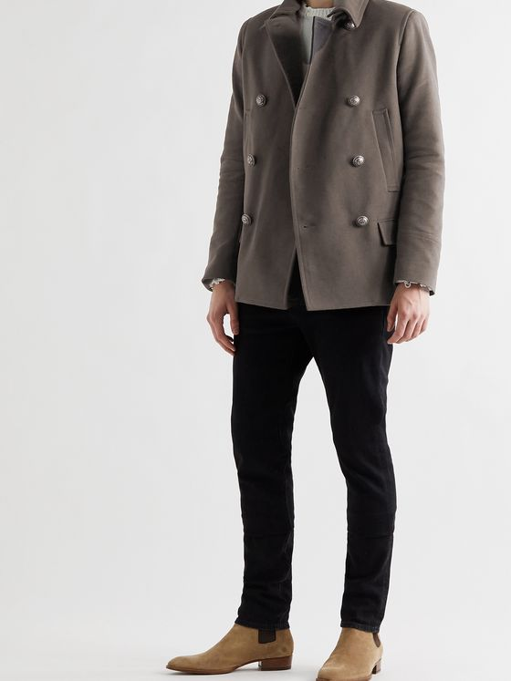 BALMAIN Detachable-Collar Cotton Peacoat