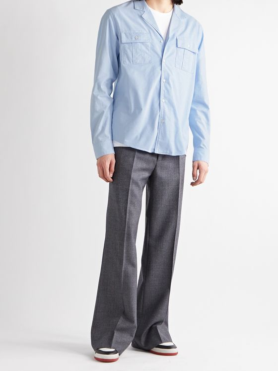 BALMAIN Camp-Collar Distressed Cotton Oxford Shirt