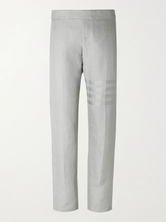 THOM BROWNE Striped Linen Trousers