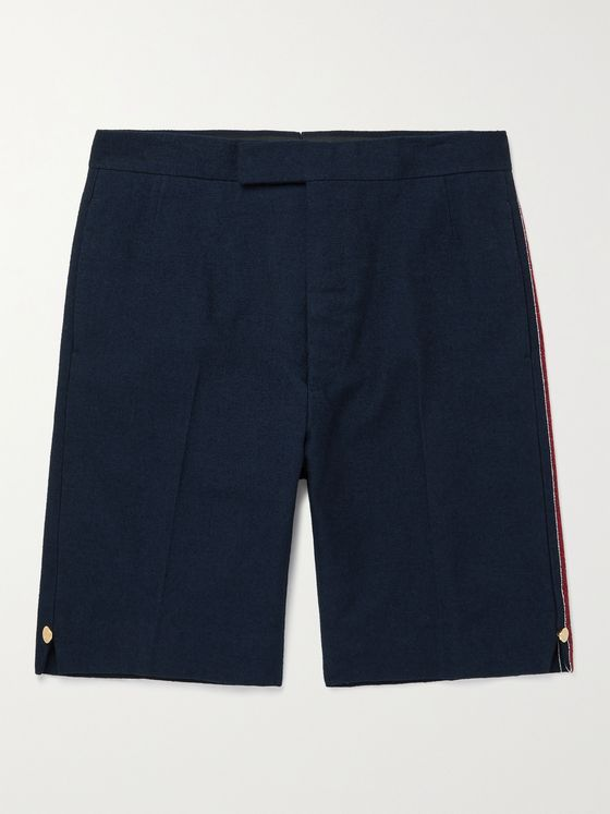 THOM BROWNE Slim-Fit Striped Cotton-Blend Bouclé Shorts