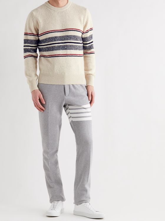 THOM BROWNE Slim-Fit Striped Wool and Mohair-Blend Sweater
