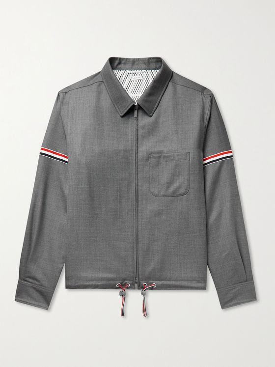 THOM BROWNE Grosgrain-Trimmed Super 120s Wool-Twill Jacket