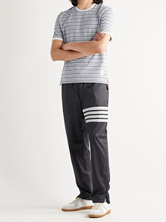 THOM BROWNE Grosgrain-Trimmed Striped Cotton-Jersey T-Shirt