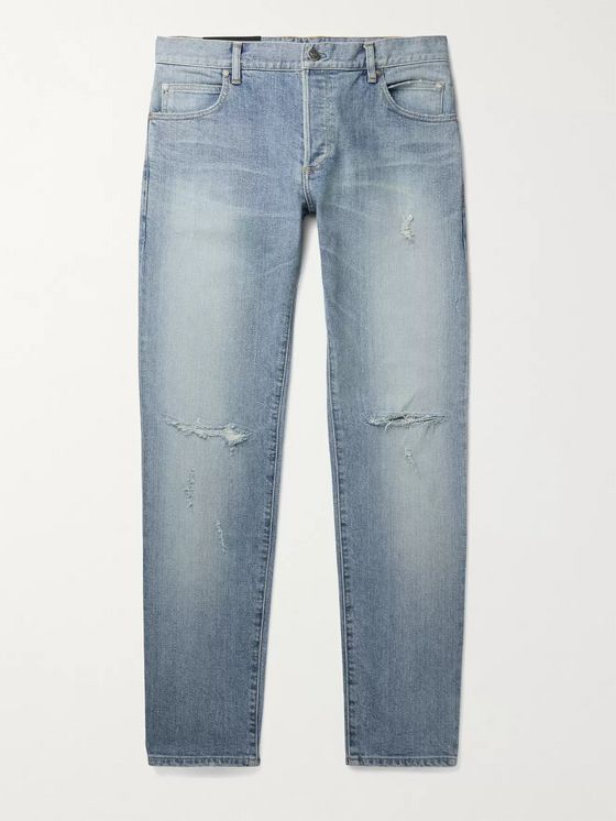 BALMAIN Skinny-Fit Distressed Logo-Embroidered Denim Jeans