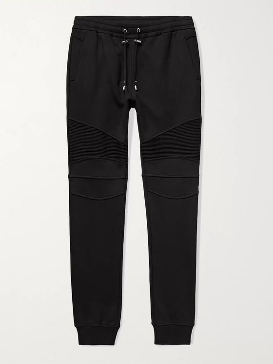 BALMAIN Skinny-Fit Panelled Loopback Cotton-Jersey Sweatpants