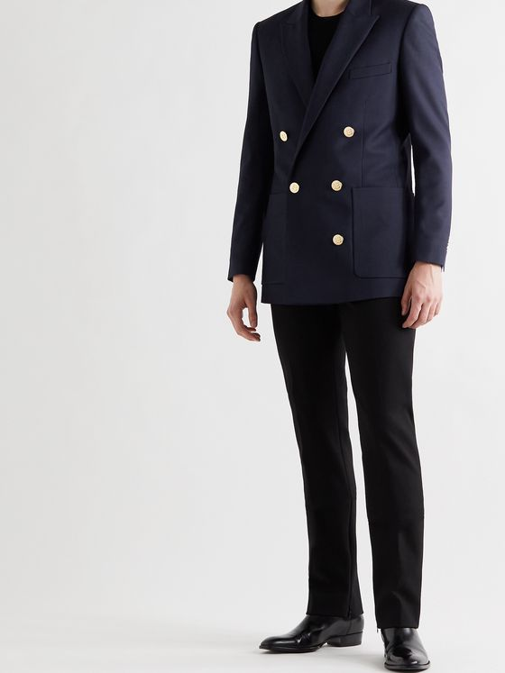 BALMAIN Slim-Fit Double-Breasted Wool-Twill Blazer