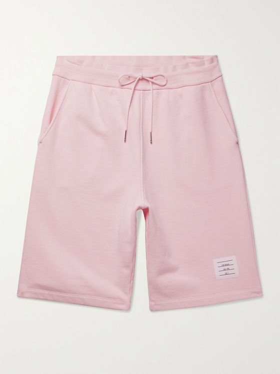 THOM BROWNE Logo-Appliquéd Garment-Dyed Loopback Cotton-Jersey Drawstring Shorts