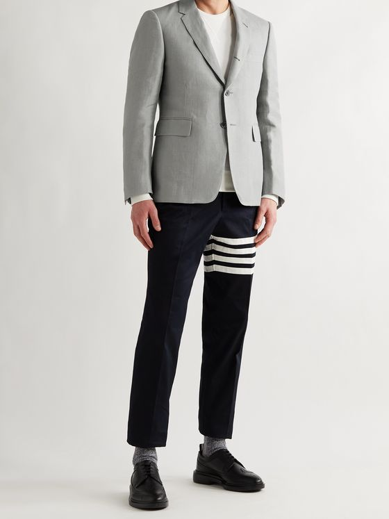 THOM BROWNE Slim-Fit Striped Linen Blazer
