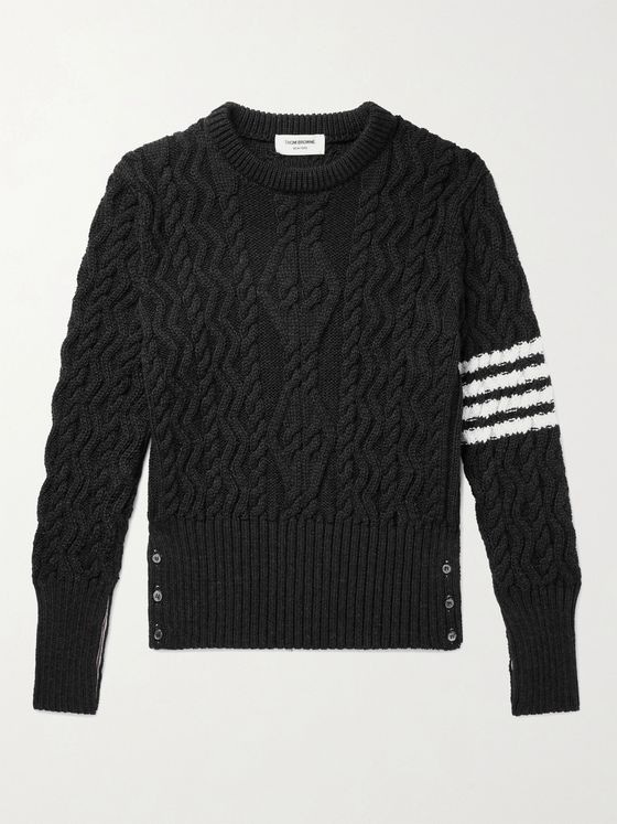 THOM BROWNE Striped Cable-Knit Merino Wool Sweater