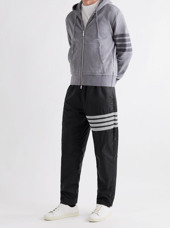 THOM BROWNE Tapered Striped Mesh-Trimmed Nylon-Ripstop Track Pants