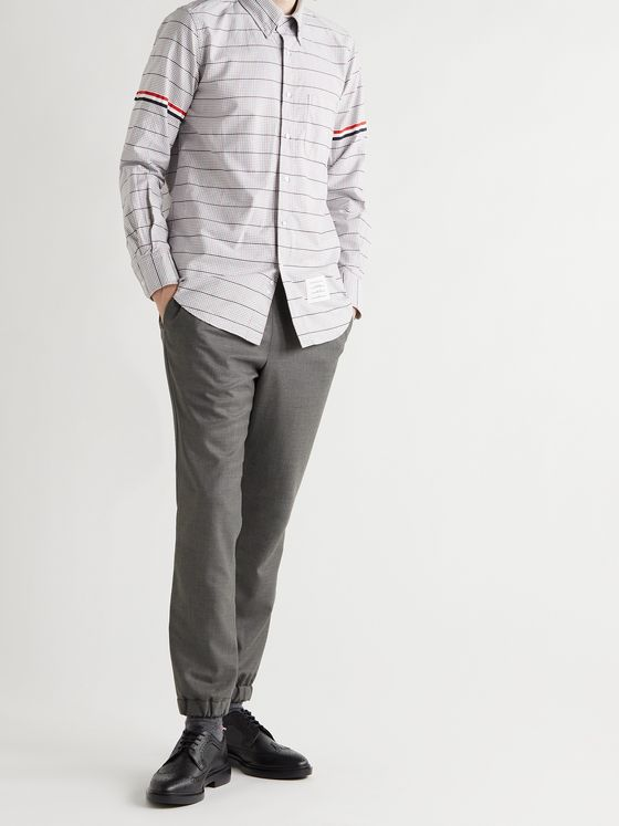 THOM BROWNE Tapered Wool-Twill Trousers