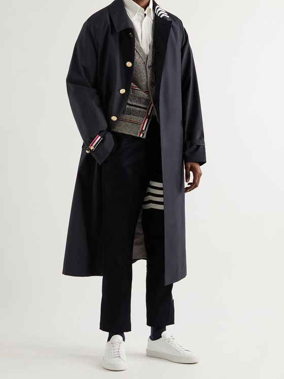 THOM BROWNE Belted Striped Ripstop Parka
