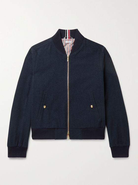 THOM BROWNE Striped Cotton-Blend Bomber Jacket