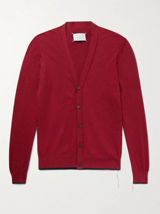 MAISON MARGIELA Suede-Trimmed Mélange Cotton and Wool-Blend Cardigan