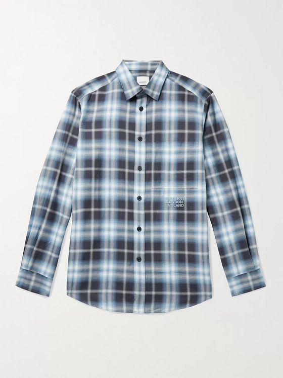 BURBERRY Logo-Embroidered Checked Herringbone Cotton-Poplin Shirt