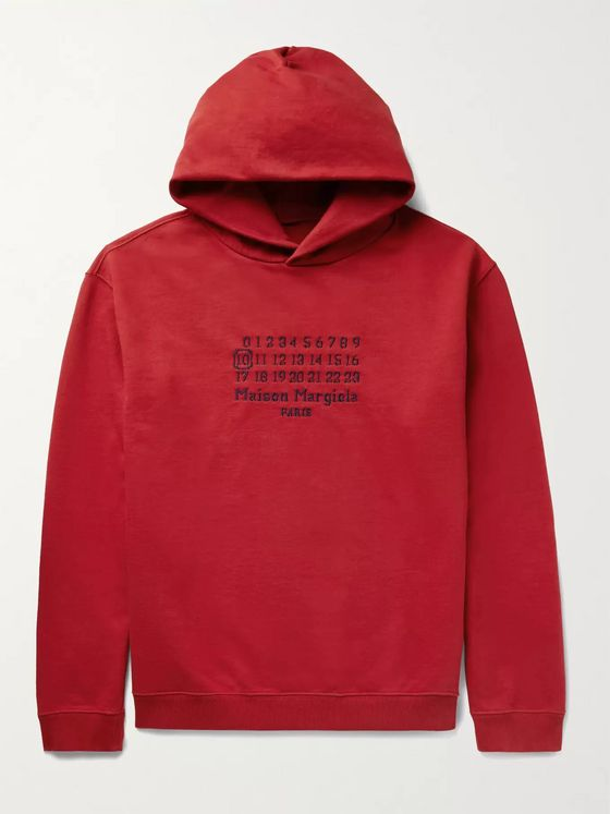 MAISON MARGIELA Oversized Logo-Embroidered Loopback Cotton-Jersey Hoodie