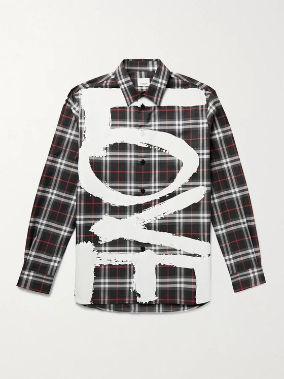 BURBERRY Printed Checked Cotton Shirt