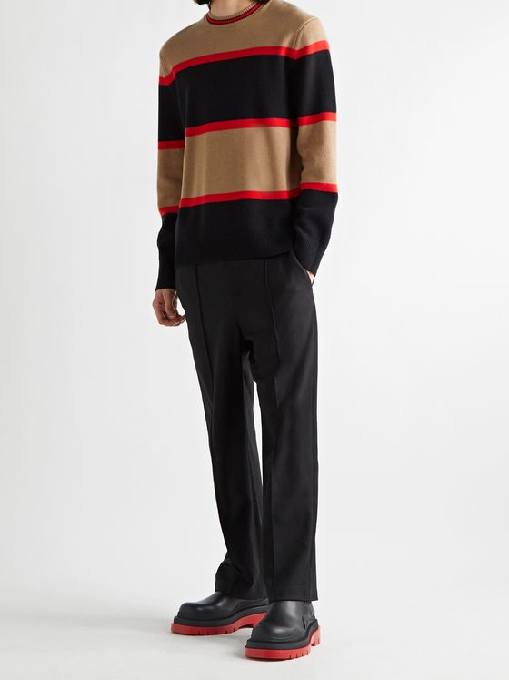 BURBERRY Striped Wool and Cashmere-Blend Sweater