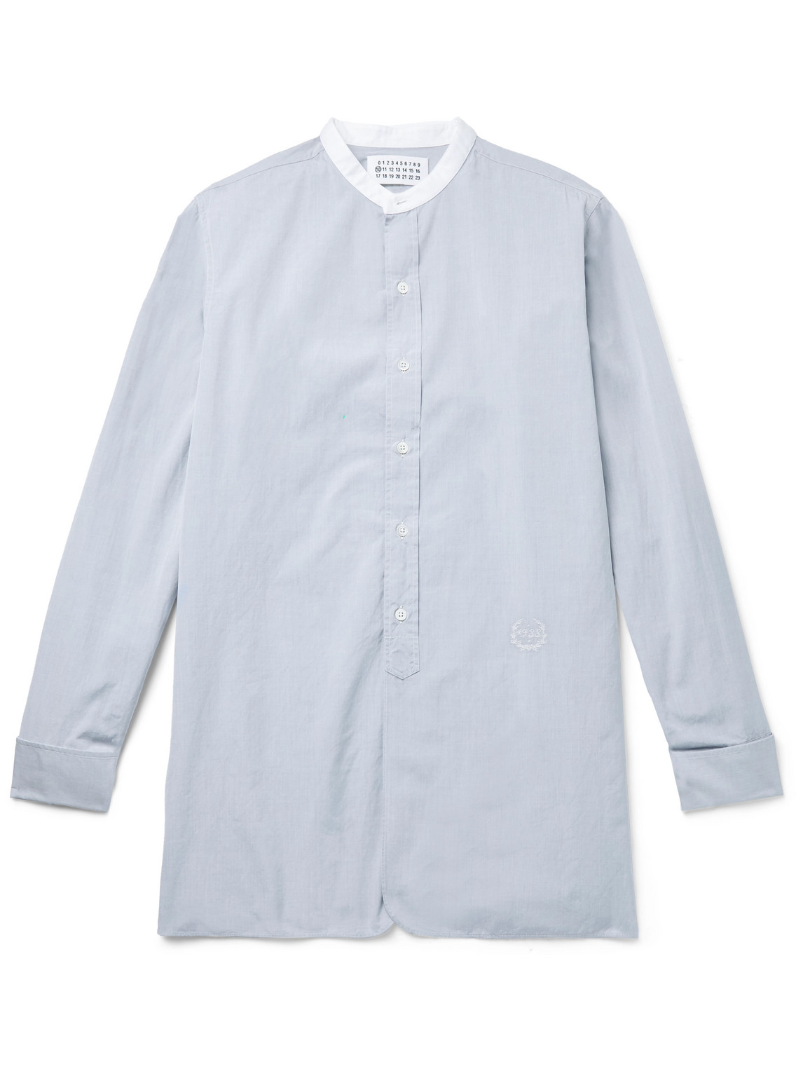 maison margiela - grandad-collar embroidered cotton-poplin shirt - men - gray - eu 41
