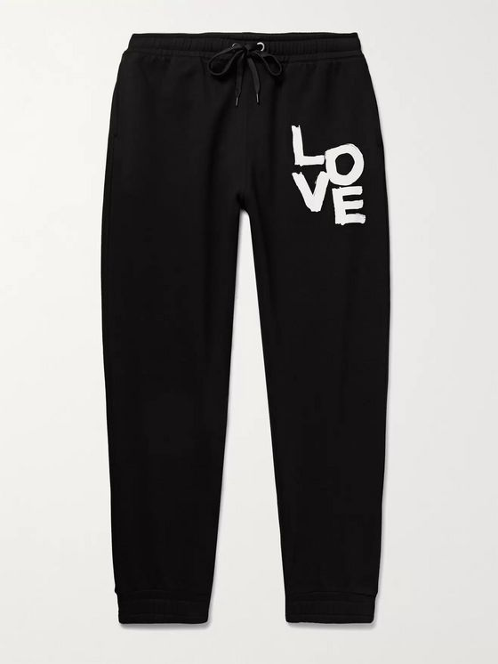 BURBERRY Tapered Printed Loopback Cotton-Jersey Sweatpants