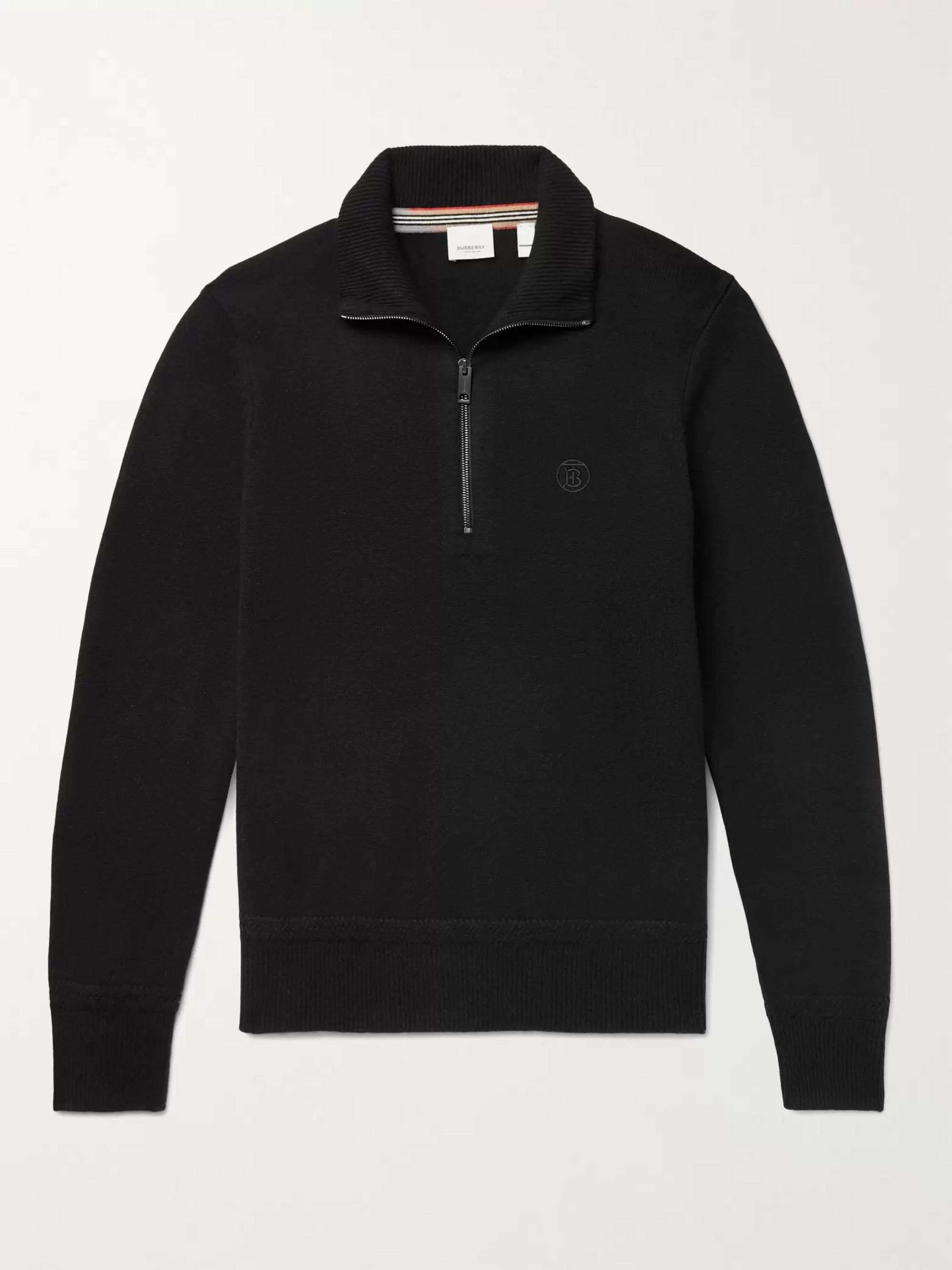 BURBERRY Logo-Embroidered Cashmere Half-Zip Sweater