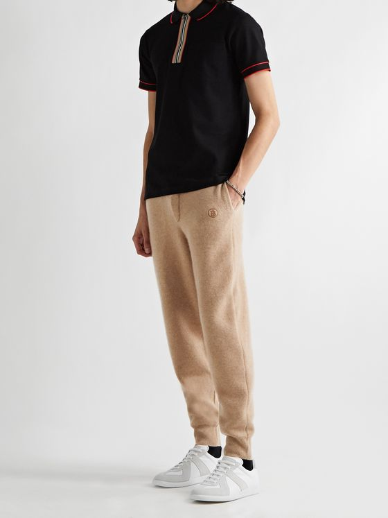 BURBERRY Tapered Logo-Embroidered Cashmere-Blend Sweatpants