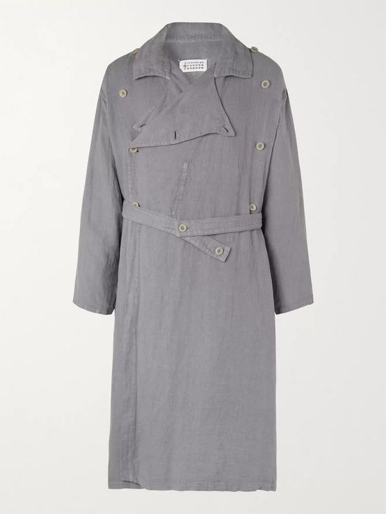 MAISON MARGIELA Double-Breasted Herringbone Linen Belted Trench Coat