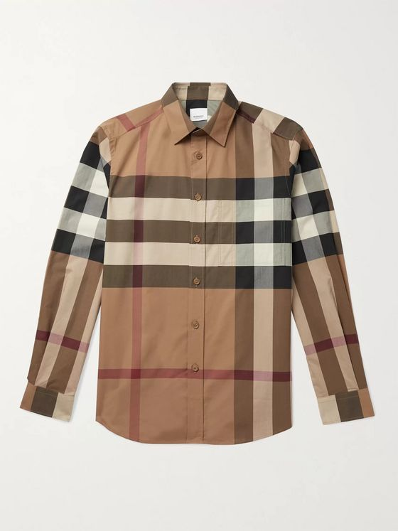 BURBERRY Checked Cotton-Blend Poplin Shirt