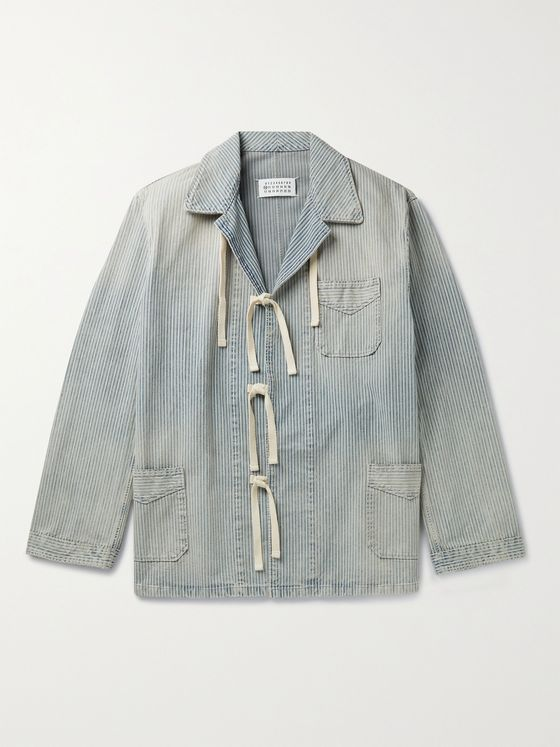 MAISON MARGIELA Distressed Striped Cotton-Gabardine Chore Jacket