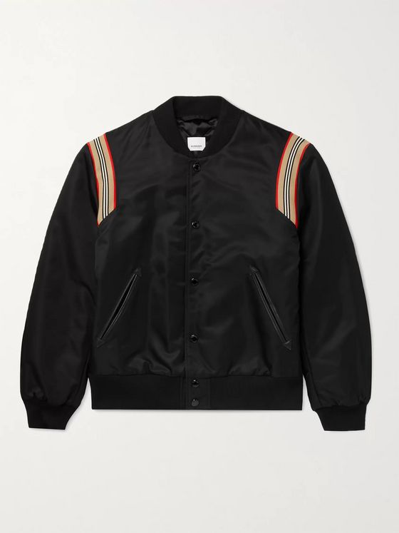 BURBERRY Leather and Webbing-Trimmed Padded Nylon Bomber Jacket