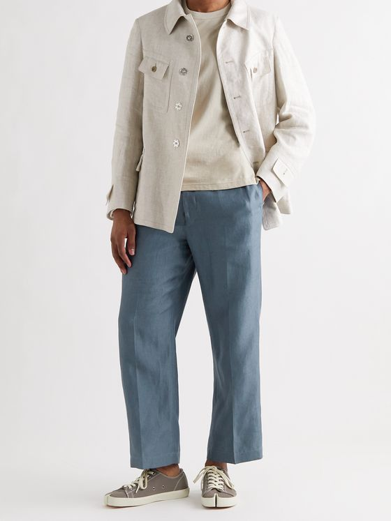 MAISON MARGIELA Cropped Pleated Linen Trousers