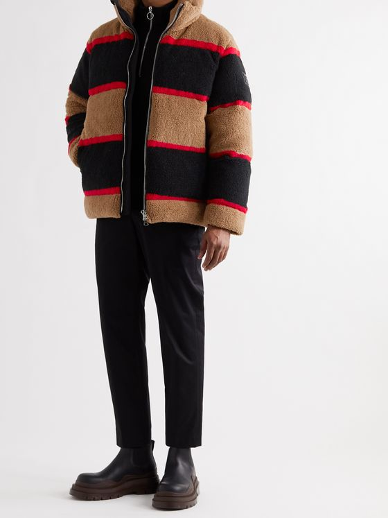 BURBERRY Bradfield Logo-Appliquéd Striped Fleece Down Jacket