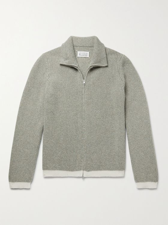 MAISON MARGIELA Ribbed Contrast-Tipped Mélange Alpaca-Blend Zip-Up Cardigan