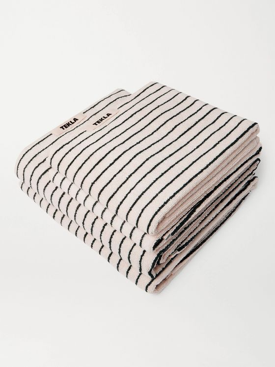 TEKLA Set of Four Striped Organic Cotton-Terry Towels
