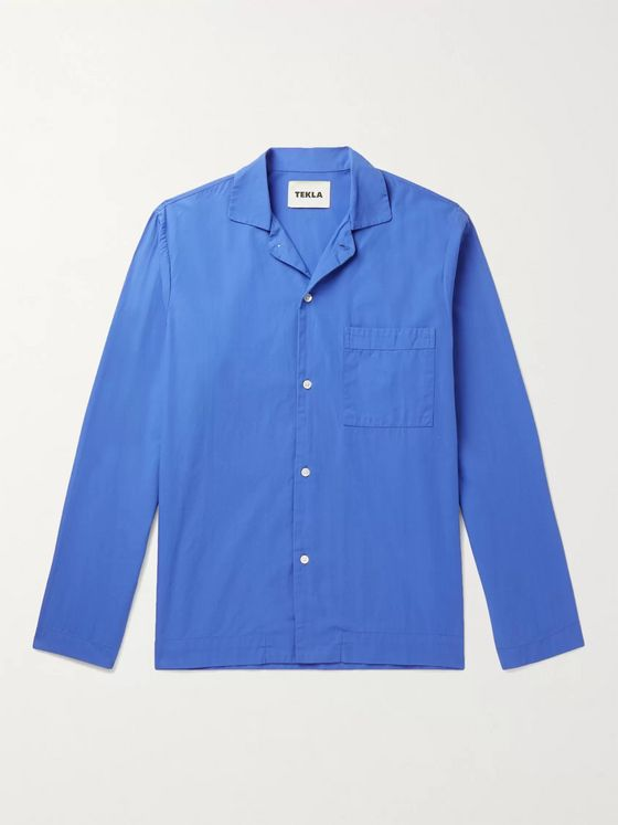 TEKLA Camp-Collar Organic Cotton-Poplin Pyjama Shirt