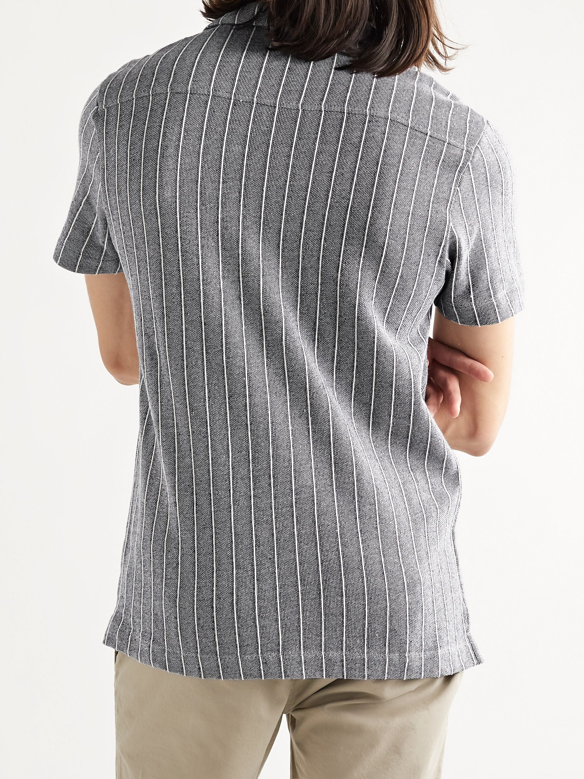 HAMILTON AND HARE Camp-Collar Striped Cotton Shirt