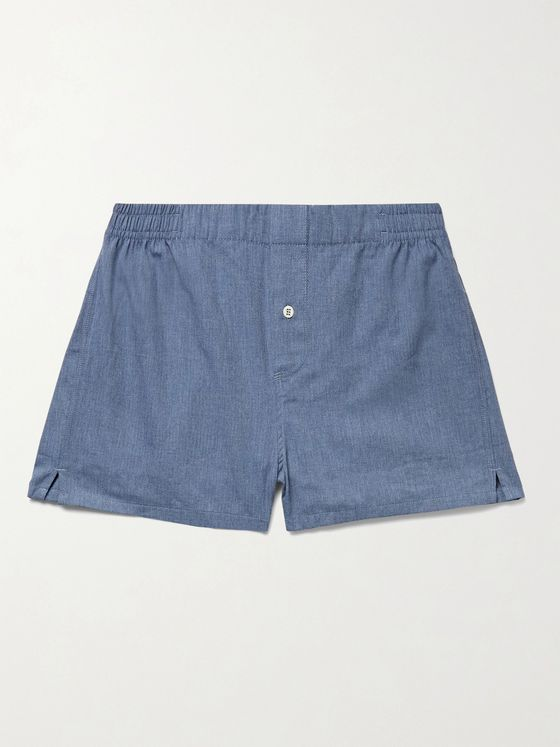 Hamilton and Hare Herringbone Mélange Cotton-Flannel Boxer Shorts