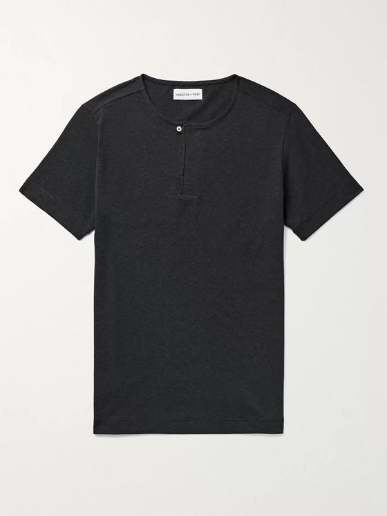 HAMILTON AND HARE Mélange Stretch-Lyocell and Cotton-Blend Henley Pyjama T-Shirt